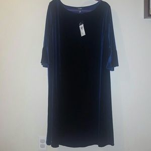 NWT Chaps Blue Velvet Dress
